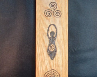 Wicca Goddess Symbols on English Oak wood with Crystals and pyrography design