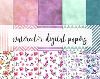 watercolor digital paper,  for personal and small commercial use