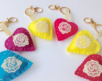 Keychain with wool felt heart