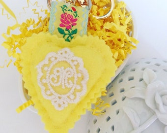 Wool felt heart with lace monogram & gold colored keychain