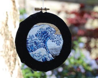 """4"""" hand embroidered """"The Great Wave off Kanagawa"""" by Hokusai mounted hoop - miniature art piece - wall hanging"""