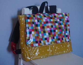 Satchel for child mustard, waterproof, coated canvas printed rubik's cube
