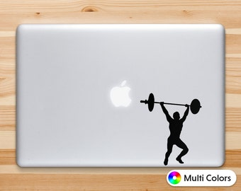 Weightlifting Decal, Weightlifting Sticker for iPad iPhone MacBook Or Walls and Cars