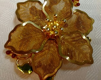 One (1) KC Goldtone Poinsettia Brooch Pin