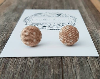 Tan and white spotty fabric earrings, fabric studs, fabric buttons, spotty earrings, earrings