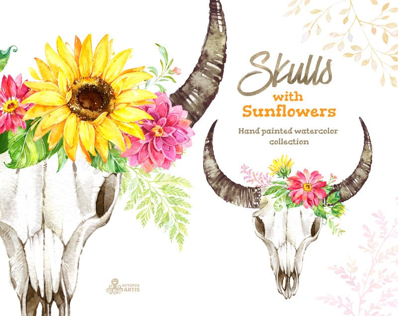 Skulls with sunflowers. Watercolor clipart, sunflowers ...