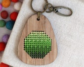 Green Gradient / Bamboo Embroidered Keyring Kit / Ombré Embroidery / DIY Geometric Cross Stitch