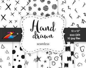 Sale Black white digital paper, doodle background seamless pattern hand drawn paper scrapbook modern graphic digital black strokes