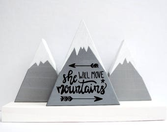 Wooden mountains, Baby girl gift, She will move mountains, First baby girl, Baby shower gift, The mountains are calling, She believed.