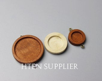 20pcs wood Double buckle 12mm/15mm/25mm Blank Round Pendant Setting 12mm wood trays pendant ...