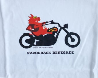 Arkansas Razorback Renegade T-Shirt Hog on a Motorcycle Hog Long-Sleeved for Gals