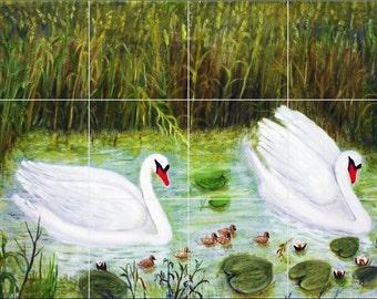 Ceramic Tile Mural Backspash/Decor Swans in a pond #129