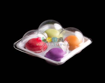 Dollhouse Miniatures Colorful Meringue Macaron in Plastic Hole Box