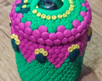 Earth Dragon Eye Polymer Clay Glass Jar