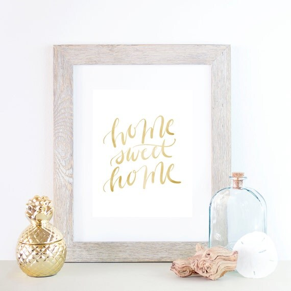 Gold Art Print, Gold Type Print, Typography print, Typography Art, Home Sweet Home, Home Print, Home Decor, Welcome Home, Art Print