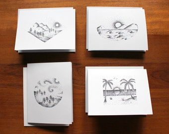 Pointillism Landscape Card Set