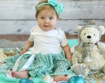 Maddie Dress Baby Photo Prop Aqua Crochet