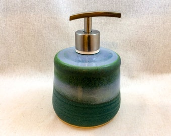 Stoneware pottery soap dispenser, lotion pump- green and light blue glaze- with stainless steel pump (holds 10 oz), ceramic soap pump