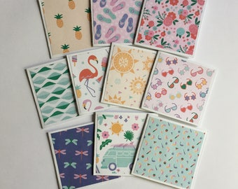 Summer cards, mini card set of 10, gift cards, thank you cards, note cards, mini notes