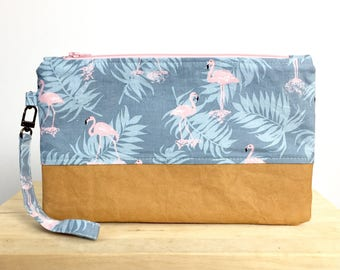 Flamingo wristlet clutch with washable paper. Small bag. Purse. Phone pouch.