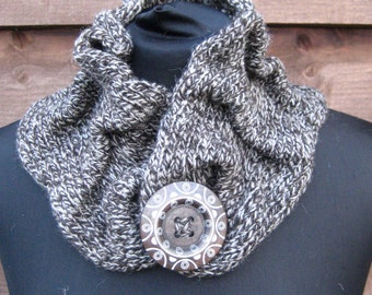 Gathered Shetland Wool Snood/Neck Warmer in charcoal and white with large button