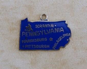 Wells Pennsylvania Enamel Keystone State Map Sterling Silver Vintage Bracelet Charm