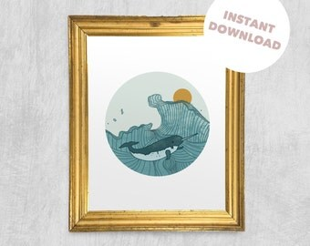 Printable Wall Art - Narwhal Swimming in the Daytime, Digital Download, Stylish Print, Children's Art