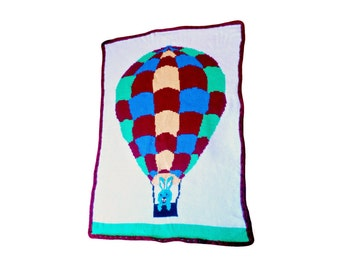 Hot Air Balloon Baby Blanket, Lap Wheelchair TV Snuggle Security Travel Nap Blanket, Cover, Bunny, Christmas Gift, Birthday Gift, Warm wrap