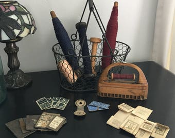 Vintage Sewing Supplies - Group of Sewing Supplies - Vintage Wooden Spools - Sewing Shuttle -Thread and Needles - Instant Collection