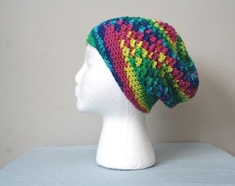 Crochet Slouch Hat, Multicolored; Crochet Hat, Crochet Slouchy Hat, Slouch Beanie, Crocheted Slouch Hat, Crochet Beanie, Winter Beanie
