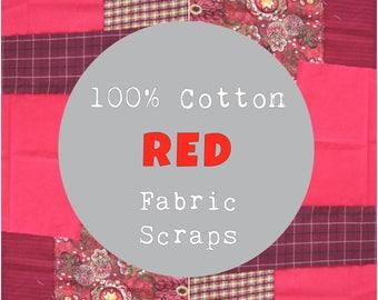 SURPRISE Fabric Scrap Bundle, Shades of Red, 100% Cotton Fabric, 4 oz, ~1 yard; Cotton Fabric Scraps, Quilting Fabric, Cotton Fabric Squares