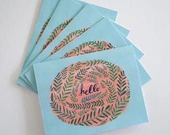 Hello ferns greeting cards - hand painted set of five 5.5 x 4