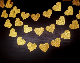 SPARKLEHEARTS:  Gold Glitter Small Paper Heart Garland – Party, Wedding, Shower, Room Decoration