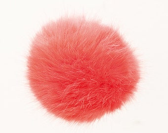Pom Pom fake fur 10 cm diameter in colour coral/peach for crazy bobble hats as keyring or for your mirror in the car pompom multipurpose