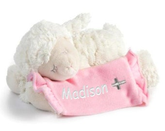 Personalized Baptism Gift - Lay Me Down To Sleep Lamb - Pink