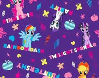 My Little Pony Fabric  Ponies and Names Fabric in Purple 14297 / My Little Pony  by the Yard /  1/2 Yard Cuts / By The Yard