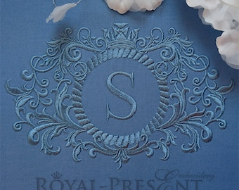 Machine Embroidery Design Blue Baroque Monogram Blank