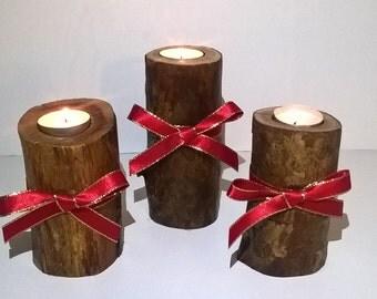 Log Tealight Holders, Rustic, Natural Branch Tealight Holders, Yew Tealight Holders, Tealight Holders.