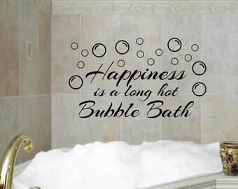 happiness is a long hot bubble bath vinyl wall decal bath bubbles