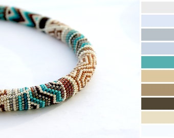 Greek - Choker beaded.  Necklace. Jewelry. Collar. Colorful. Brown Turquoise Silver.  Collar.  Gift. For. Women. Handmade.