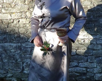 Medieval style dress, Goddess worship, Hand-fasting, High elf, ritual or ceremonial, one size, silver grey,