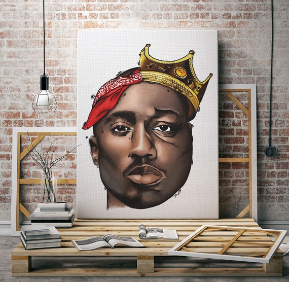 Tupac Shakur Art / Biggie Smalls Art / Original half 2pac half