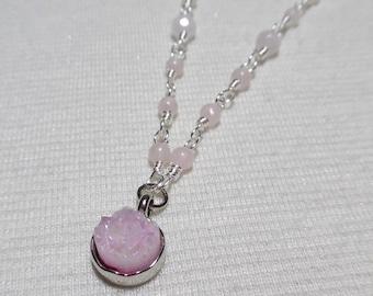 Rose Quartz Necklace, Druzy Necklace, Gemstone Necklace, Boho Necklace, Druzy Gemstone Necklace, Gift for Her, Bohemian Jewelry
