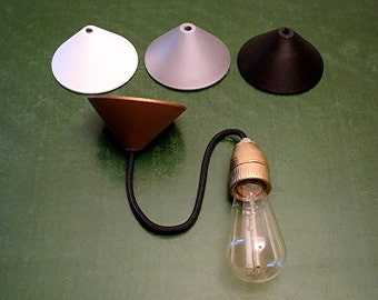 Porcelain Socket with Textile Cable and Canopy in Different Colors
