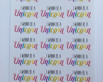I wanna be a Unicorn planner stickers - rainbow, magical, colourful, ideal for ECLP, Kikki.K, Mambi Happy Planner. (Sweary version in pics)
