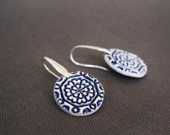 Delft ceramic earrings, Delft blue earrings, Ornamental earrings, Dangle earrings, Everyday jewellery, Wedding jewellery, Folk art inspired