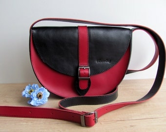 Crossbody leather bag red black  messenger bag purse Gift for her Woman shoulder bag Handmade Handbag
