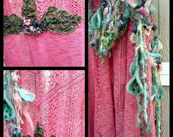 Upcycled recycled  altered couture vest  with Woodland fairy belt  or lariat, deep coral  vest ,fairy lariat green and chiffon  flowers,silk