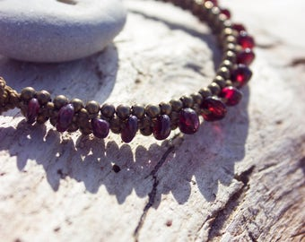 Enchanting macrame anklet with garnet chips inspires love and passion, devotion and loyalty