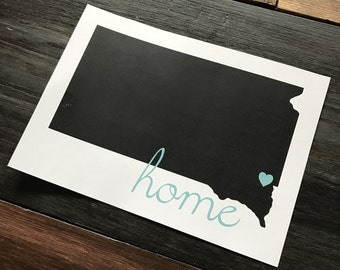 5x7 print South Dakota with a heart and home over Sioux Falls
